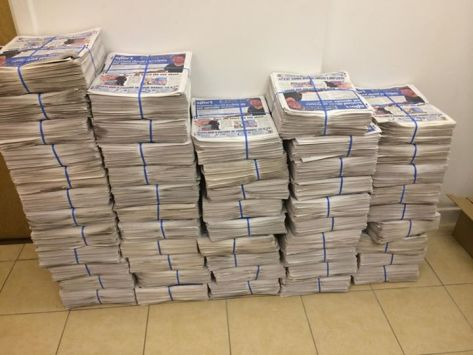 That's 18,000 newspapers, all of which were delivered in a couple of days by dozens of Yes campaigners.