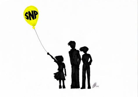 I drew this image last week: it was published in the Greenock Telegraph the day after Nicola Sturgeon visited Greenock, and a brave wee lassie posed defiantly against two Union Flag-waving protesters. Lovely bit of synchronisation, isn't it?