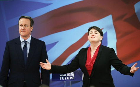 Ruth Davidson seen here, confounding Tory stereotypes.