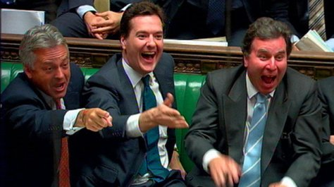 (From the left) Shadow Trade and Industry Secretary Alan Duncan, Shadow Chancellor George Osborne and Chairman of the Policy Review Oliver Letwin during Prime Minister's Questions in the House of Commons in central London.