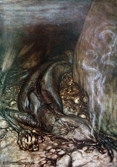 Siegfried and the Twilight of the Gods_Fafnir by Arthur Rackham
