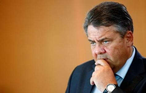 German Economy Minister Gabriel attends the weekly cabinet meeting at the chancellery in Berlin